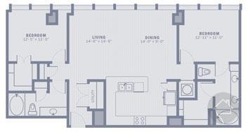 2/2 1301 sqft floor plan