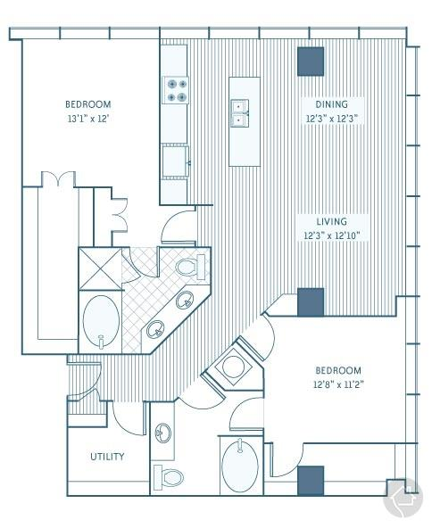 2/2 1433 sqft floor plan