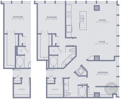 2/2 1448 sqft floor plan