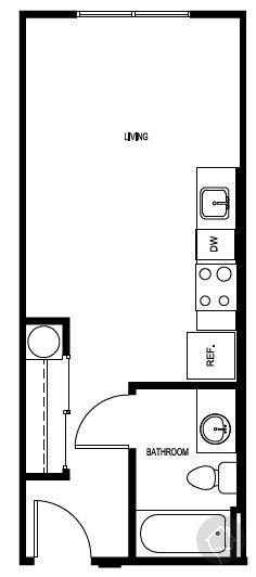 0/1 352 sqft floor plan