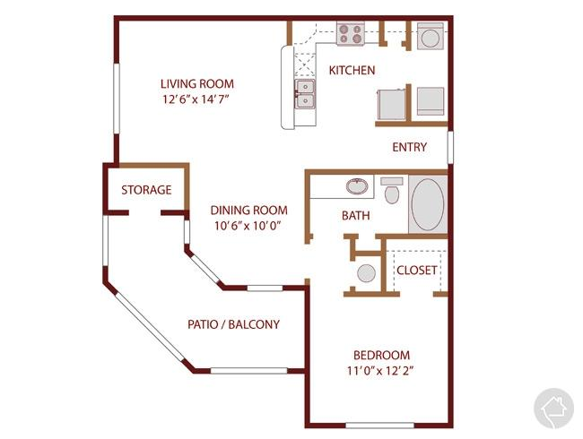 1/1 775 sqft floor plan