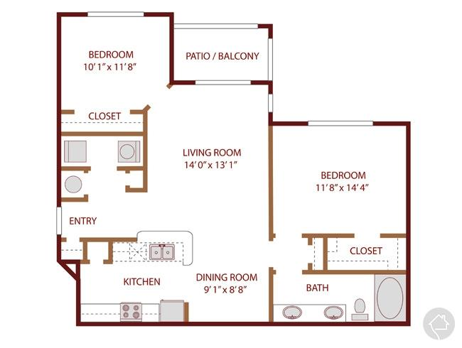 2/1 995 sqft floor plan