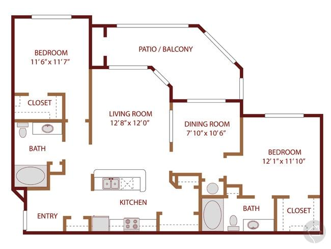 2/2 1243 sqft floor plan