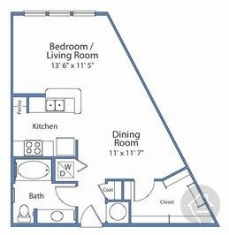 0/1 638 sqft floor plan