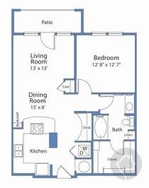 1/1 790 sqft floor plan