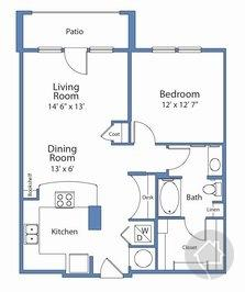 1/1 823 sqft floor plan