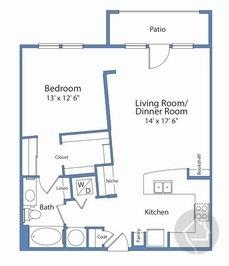 1/1 840 sqft floor plan