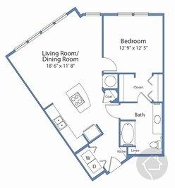 1/1 826 sqft floor plan