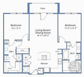 2/2 1169 sqft floor plan