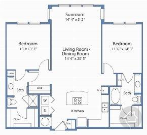 2/2 1248 sqft floor plan
