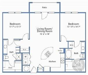 2/2 1250 sqft floor plan