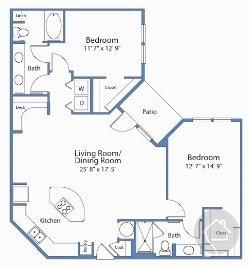 2/2 1255 sqft floor plan