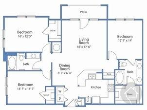 3/2 1473 sqft floor plan