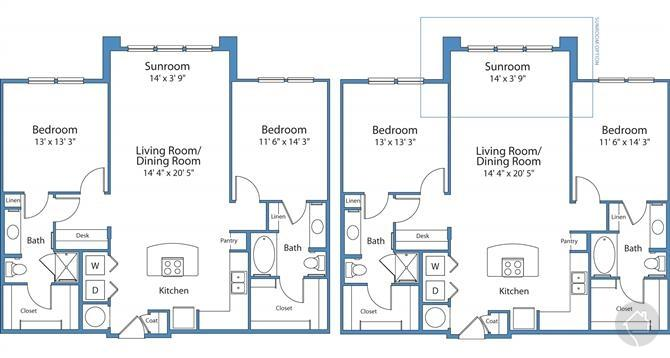 2/2 1224 sqft floor plan