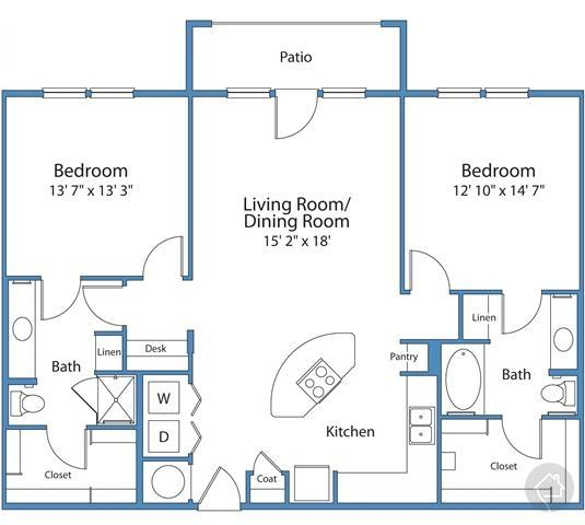 2/2 1329 sqft floor plan
