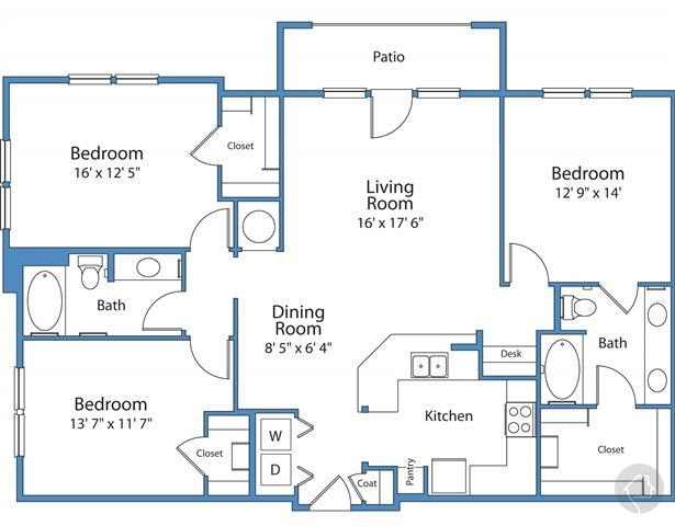 3/2 1557 sqft floor plan