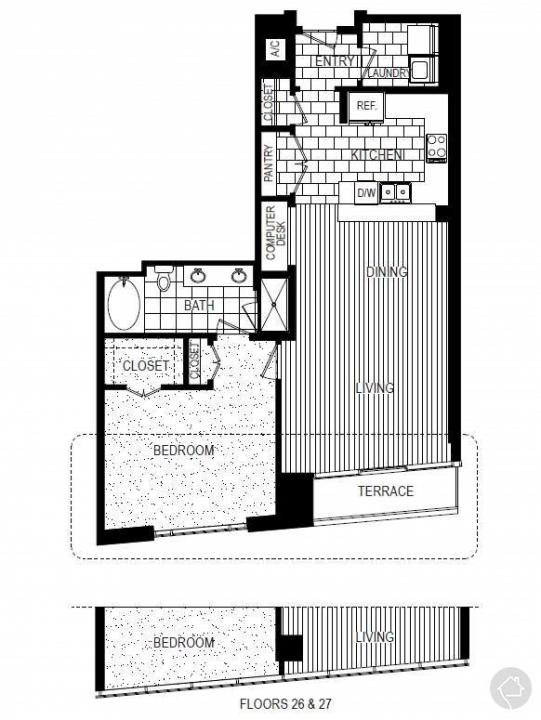 1/1 1065 sqft floor plan