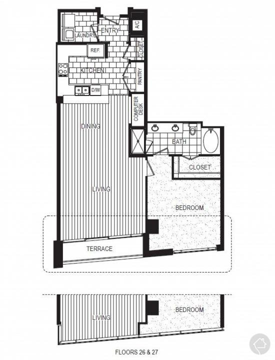 1/1 1119 sqft floor plan