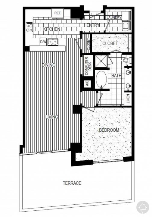 1/1 1196 sqft floor plan