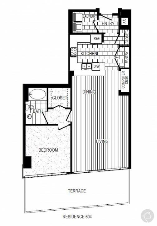 1/1 1253 sqft floor plan