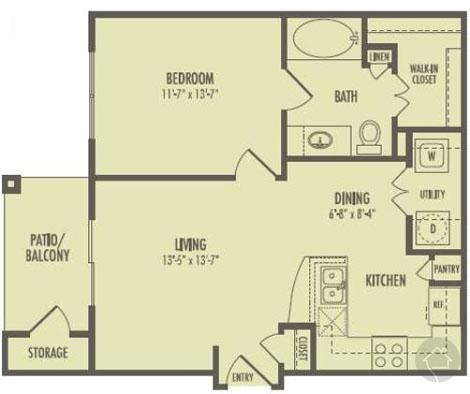 1/1 655 sqft floor plan