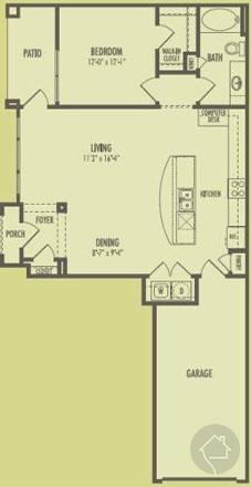 1/1 867 sqft floor plan