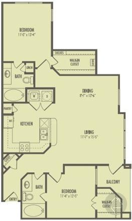 2/2 1075 sqft floor plan