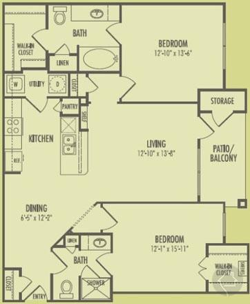 2/2 1091 sqft floor plan