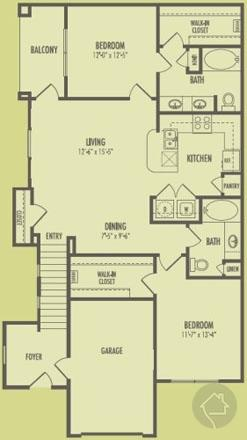 2/2 1106 sqft floor plan