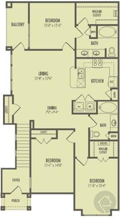 3/2 1285 sqft floor plan