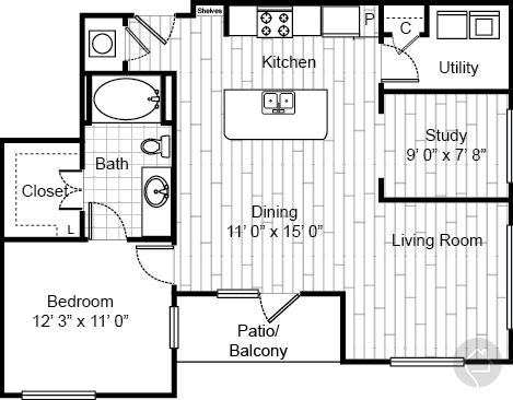 1/1 916 sqft floor plan