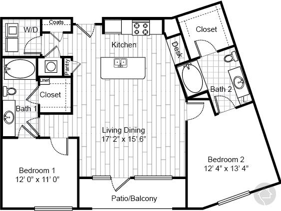 2/2 1180 sqft floor plan