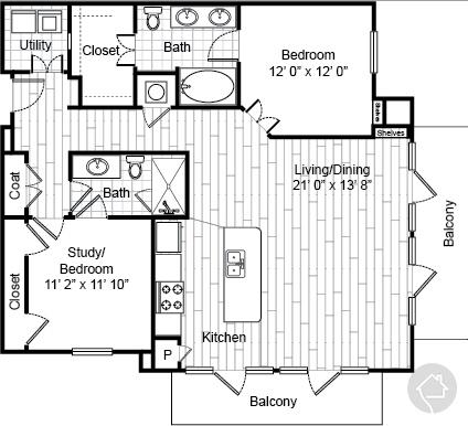 2/2 1236 sqft floor plan