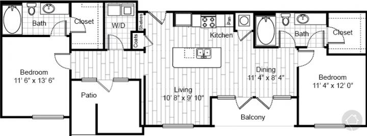 2/2 1136 sqft floor plan