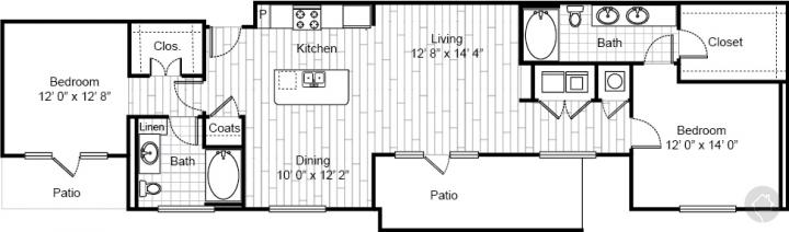 2/2 1336 sqft floor plan