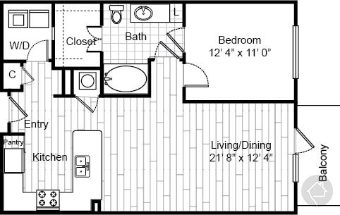 1/1 735 sqft floor plan