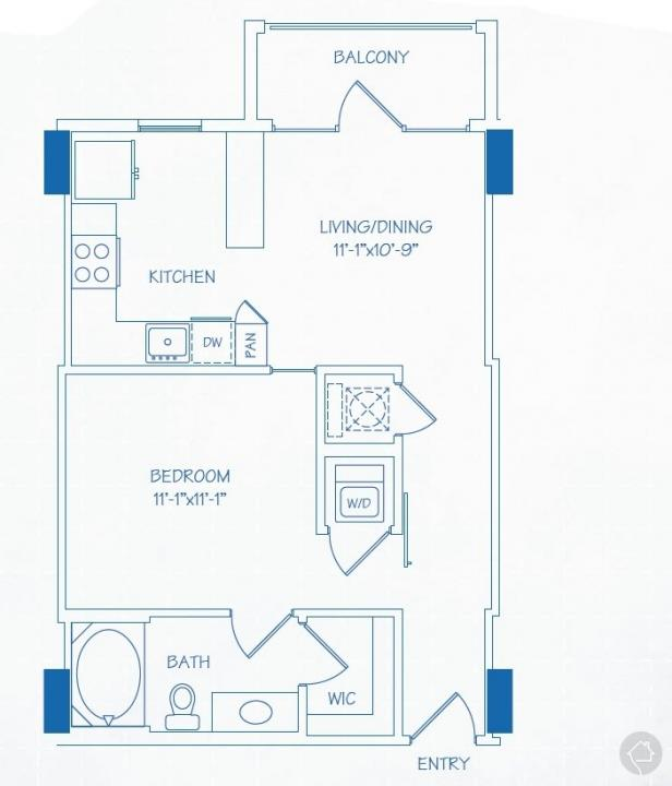 1/1 623 sqft floor plan