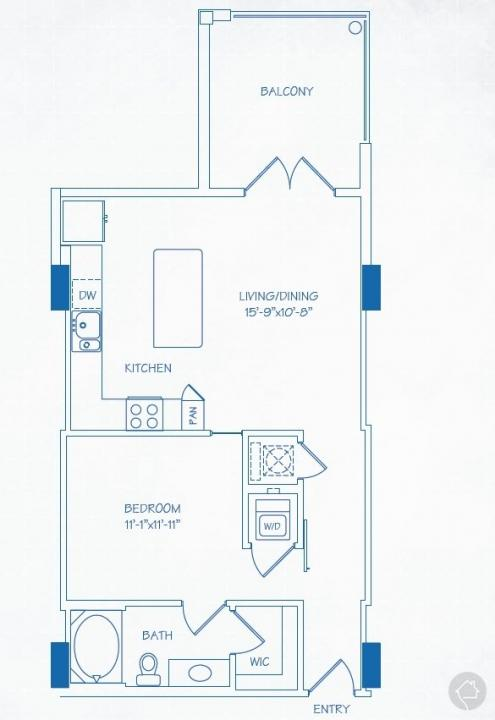 1/1 724 sqft floor plan