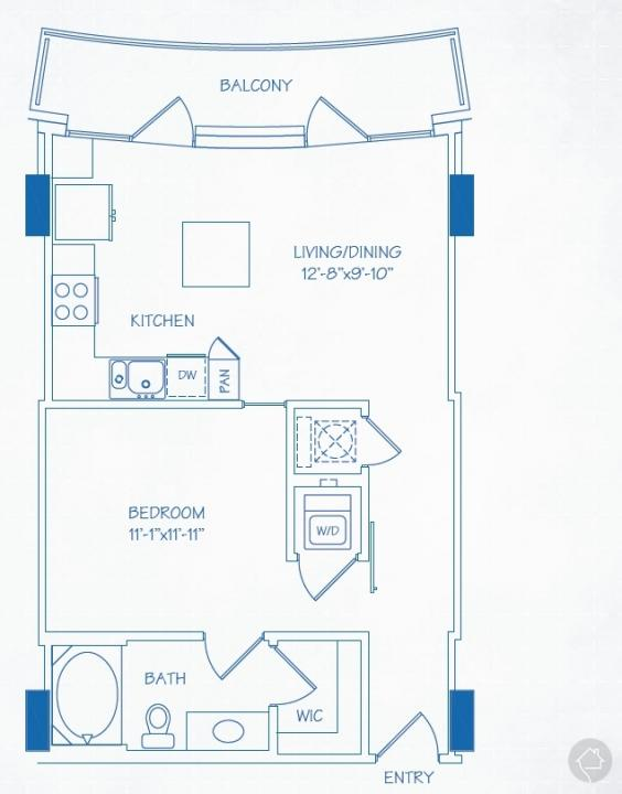 1/1 658 sqft floor plan
