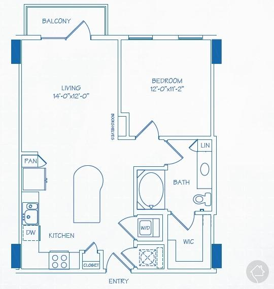 1/1 741 sqft floor plan