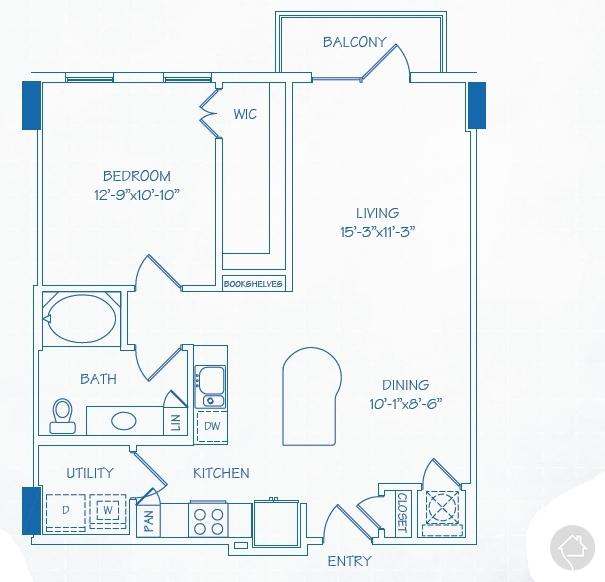 1/1 834 sqft floor plan