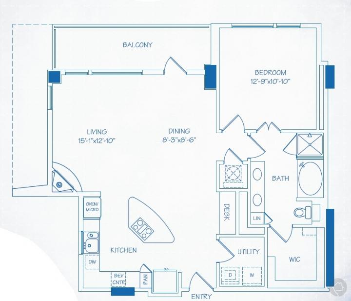 1/1 1072 sqft floor plan