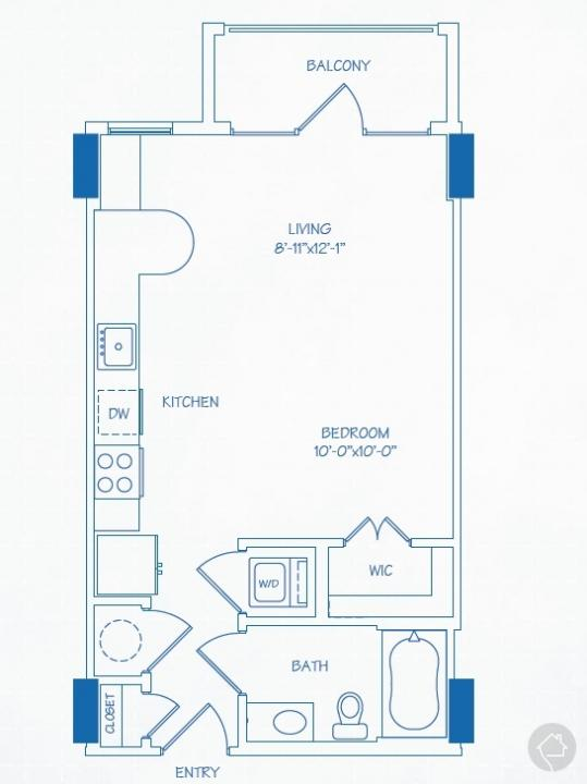 0/1 521 sqft floor plan