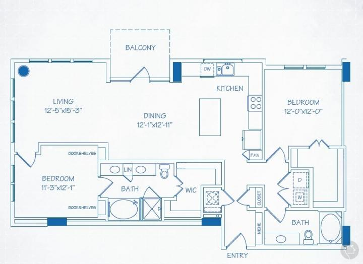 2/2 1370 sqft floor plan