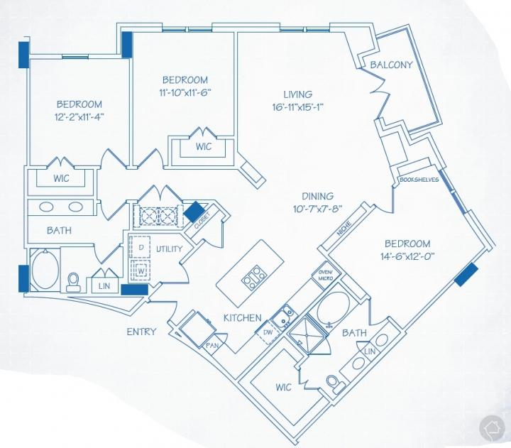 3/2 1677 sqft floor plan