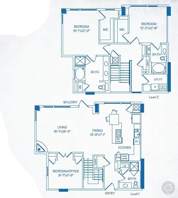 3/3 2004 sqft floor plan