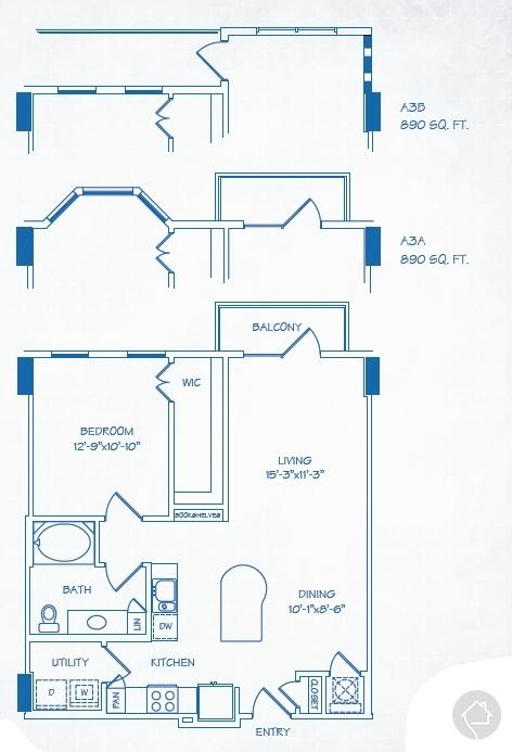 1/1 890 sqft floor plan