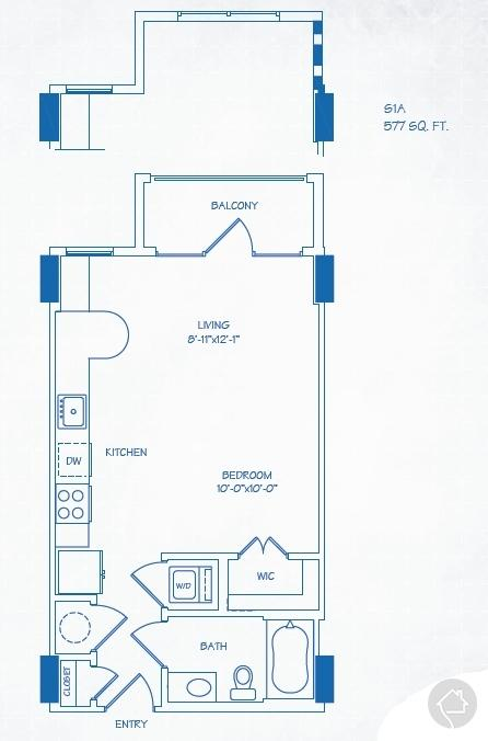 0/1 577 sqft floor plan