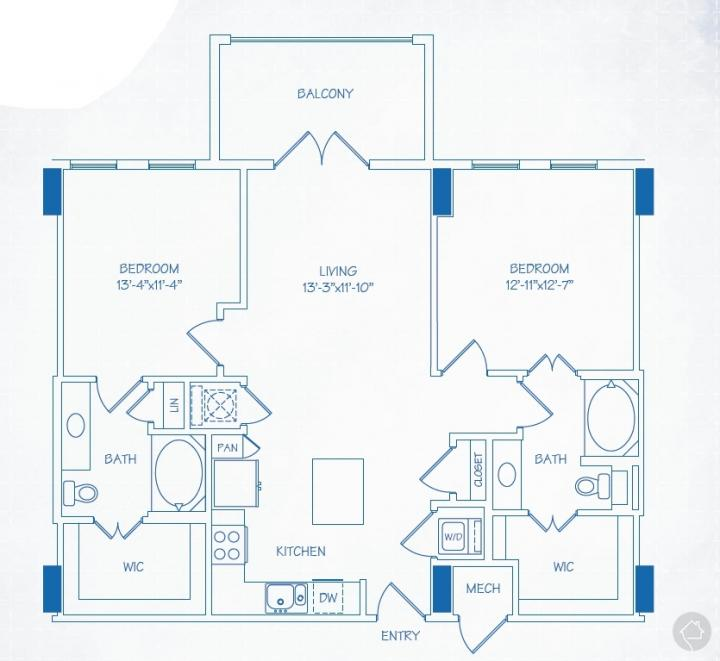 2/2 1170 sqft floor plan