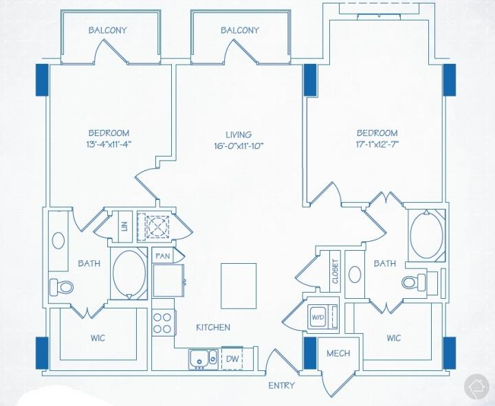 2/2 1157 sqft floor plan